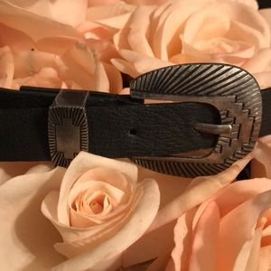 Black leather belt with silver geometric buckle